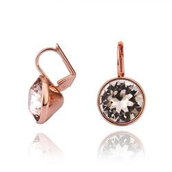 Vienna Jewelry 18K Rose Gold Stud Earrings with Crystal Center Made with Swarovksi Elements - Thumbnail 0