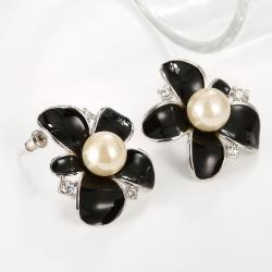 Vienna Jewelry 18K White Gold Onyx Floral Petal with Peral Centerpiece Made with Swarovksi Elements - Thumbnail 0