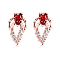 Vienna Jewelry Rose Gold Plated Grape Vine Ruby Gem Earrings