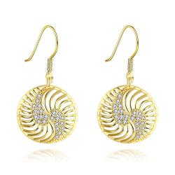 Vienna Jewelry Gold Plated The Circle of Love Drop Down Earrings - Thumbnail 0