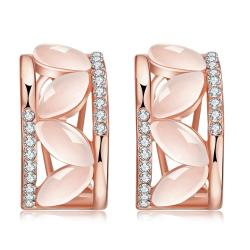Vienna Jewelry 18K Rose Gold Hoop Earrings with Coral Glass Inlay Made with Swarovksi Elements