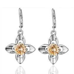 Vienna Jewelry 18K White Gold Citrine Gem Earrings Made with Swarovksi Elements - Thumbnail 0