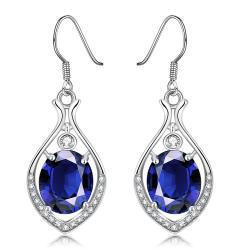 White Gold Plated Grape Vine Drop Earrings with Saphire Gem - Thumbnail 0