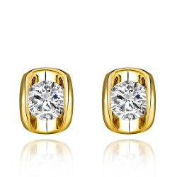 Vienna Jewelry 18K Gold Stud Earrings with Austrian Crystal Jewel Made with Austrian Crystal Elements