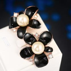 Vienna Jewelry 18K Rose Gold Onyx Floral Petal with Peral Centerpiece Made with Swarovksi Elements - Thumbnail 0