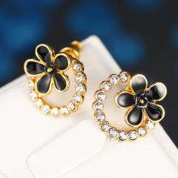 Vienna Jewelry 18K Gold Floral Hoop Earrings Made with Swarovksi Elements - Thumbnail 0