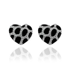Vienna Jewelry 18K White Gold Heart Shaped Onyx Gem Stud Earrings Made with Swarovksi Elements - Thumbnail 0