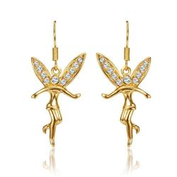 Vienna Jewelry 18K Gold Flying Angels Dangling Earrings Made with Swarovksi Elements - Thumbnail 0