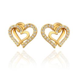 Vienna Jewelry 18K Gold Intertwined Hearts Studs Made with Swarovksi Elements - Thumbnail 0