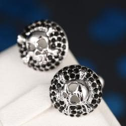 Vienna Jewelry 18K White Gold Skull & Bones Stud Earrings Made with Swarovksi Elements - Thumbnail 0