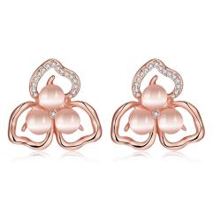 Vienna Jewelry 18K Rose Gold Trip Leaves Stud Earrings Made with Swarovksi Elements