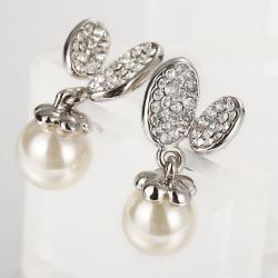 Vienna Jewelry 18K White Gold Drop Down Earrings with Pearl Made with Swarovksi Elements - Thumbnail 0