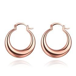 Vienna Jewelry Rose Gold Plated Twotoned Hoop Earrings - Thumbnail 0