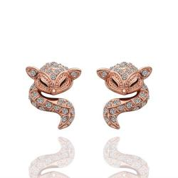 Vienna Jewelry 18K Rose Gold Spiral Cat Drop Down Earrings Made with Swarovksi Elements - Thumbnail 0