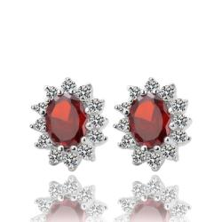 Vienna Jewelry 18K White Gold Earrings with Ruby Gem Made with Swarovksi Elements