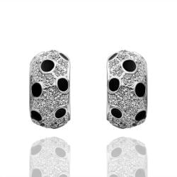 Vienna Jewelry 18K White Gold Covered with Onyx Jewels Earrings Made with Swarovksi Elements - Thumbnail 0