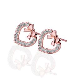 Vienna Jewelry 18K Rose Gold Heart Shaped Bow Tie Stud Earrings Made with Swarovksi Elements - Thumbnail 0
