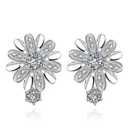 Vienna Jewelry White Gold Plated Floral Petal Stud Earrings - Thumbnail 0