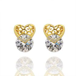 Vienna Jewelry 18K Gold Laser Cut Heart Earrings Made with Swarovksi Elements - Thumbnail 0
