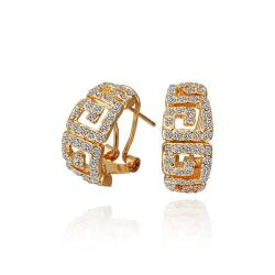 Vienna Jewelry 18K Gold Stud Earrings with Laser Cut Ingrain Made with Swarovksi Elements - Thumbnail 0