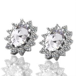 Vienna Jewelry 18K White Gold Earrings with Ivory Gem Made with Swarovksi Elements - Thumbnail 0