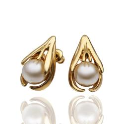 Vienna Jewelry 18K Gold Abstract Curved Stud Earrings with Pearl Centerpiece Made with Swarovksi Elements - Thumbnail 0
