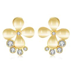 Vienna Jewelry 18K Gold Clover Stud Earrings Made with Swarovksi Elements - Thumbnail 0