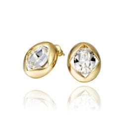 Vienna Jewelry 18K Gold Round Stud Earrings with Crystal Centerpiece Made with Swarovksi Elements - Thumbnail 0