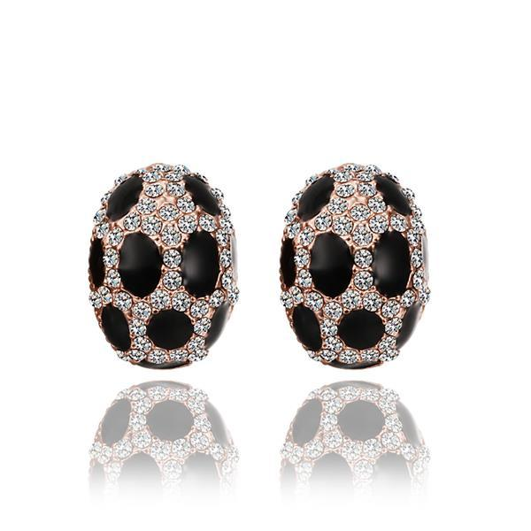 Vienna Jewelry 18K Rose Gold Oval Stud Earrings with Onyx Gems Made with Swarovksi Elements