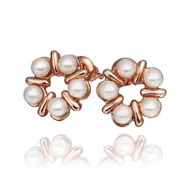 Vienna Jewelry 18K Rose Gold Five Pearls Stud Earrings Made with Swarovksi Elements