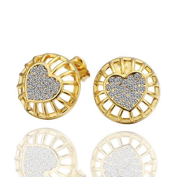 Vienna Jewelry 18K Gold Stud Earrings with Heart Shaped Placing Made with Swarovksi Elements