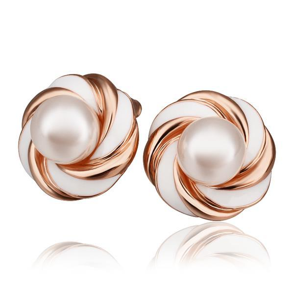 Vienna Jewelry 18K Rose Gold Intertwined Love Knot Stud Earrings Made with Swarovksi Elements