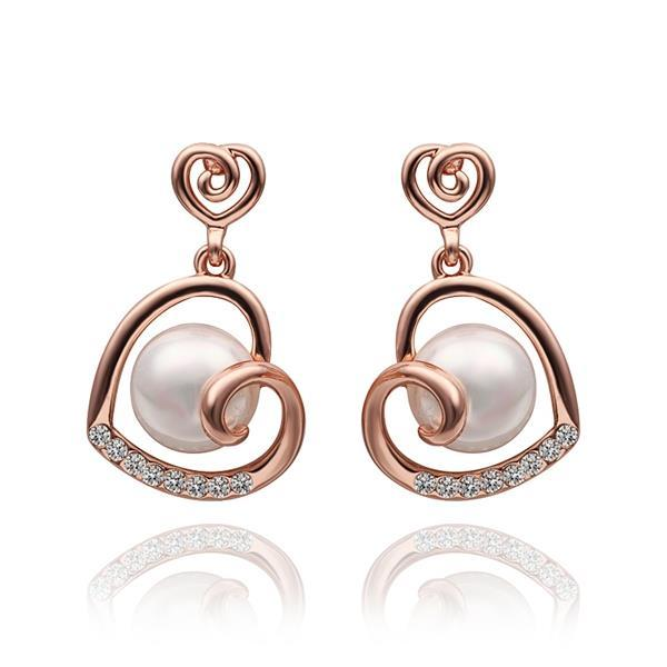 Vienna Jewelry 18K Rose Gold Spiral Hearts Shaped Drop Down Earrings Made with Swarovksi Elements