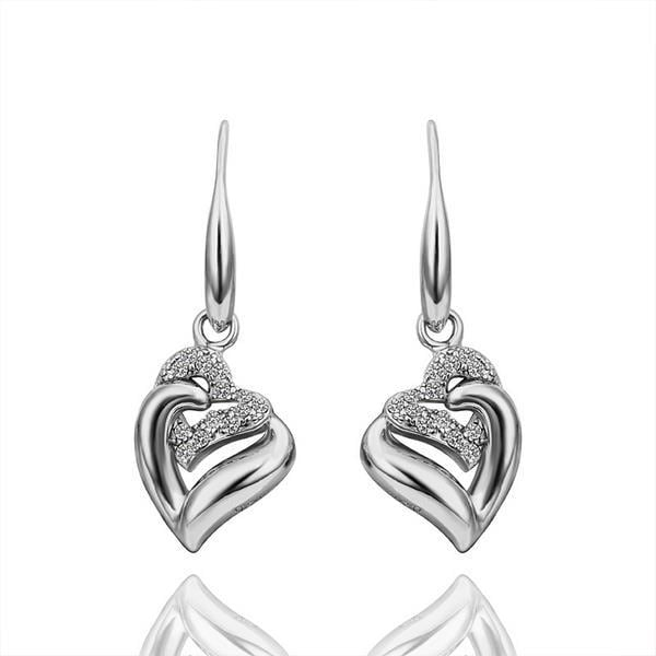 Vienna Jewelry Drop Down White Gold Classic Earrings Made with Swarovksi Elements