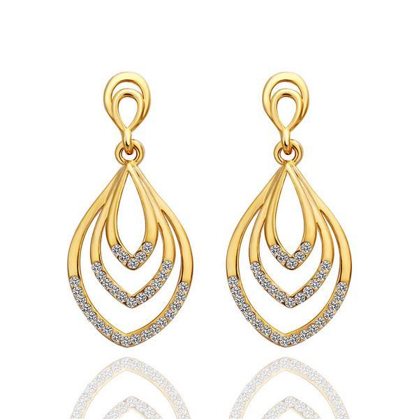 Vienna Jewelry 18K Gold Hollow Spiral Drop Down Earrings Made with Swarovksi Elements