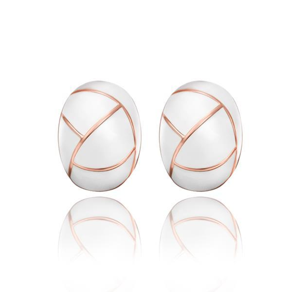 Vienna Jewelry 18K Rose Gold Inline Acorn Shaped Ivory Stud Earrings Made with Swarovksi Elements