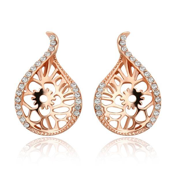 Vienna Jewelry 18K Rose Gold Laser Cut Abstract Emblem Studs Made with Swarovksi Elements