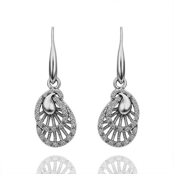 Vienna Jewelry 18K White Gold Laser Cut Drop Down Earrings Made with Swarovksi Elements - Thumbnail 0