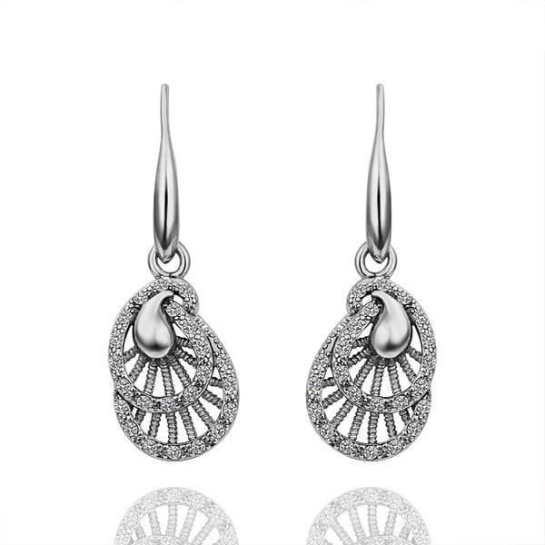 Vienna Jewelry 18K White Gold Laser Cut Drop Down Earrings Made with Swarovksi Elements