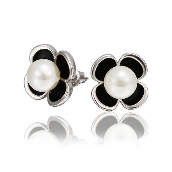 Vienna Jewelry 18K White Gold Rose Petals Stud Earrings with Peral Center Made with Swarovksi Elements