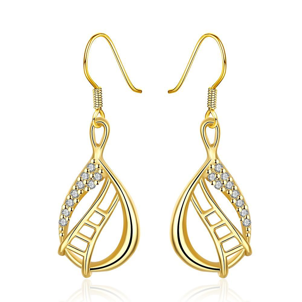 Vienna Jewelry Gold Plated Stairway to Heaven Drop Down Earrings