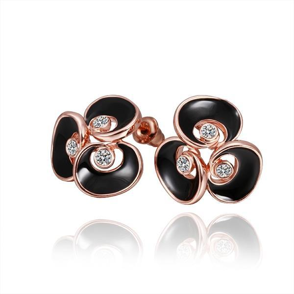 Vienna Jewelry 18K Rose Gold Floral Stud Earrings with Onyx Covering Made with Swarovksi Elements