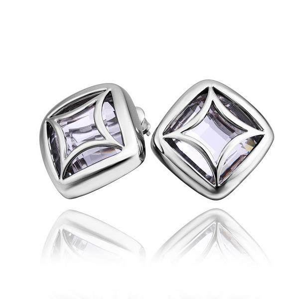 Vienna Jewelry 18K White Gold Square Stud Earrings Made with Swarovksi Elements