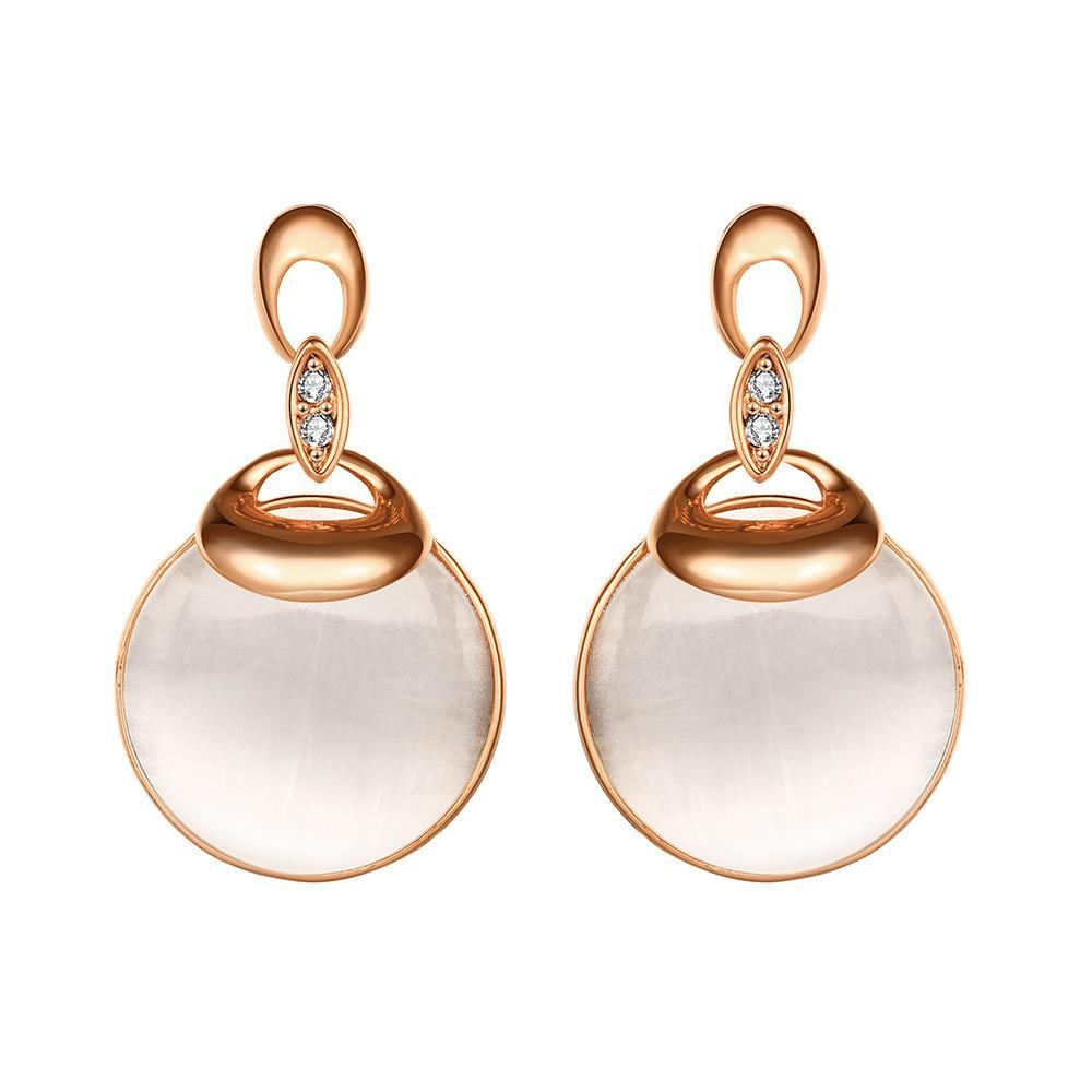 Vienna Jewelry 18K Rose Gold Drop Down Earrings with Pearl Drop Made with Swarovksi Elements