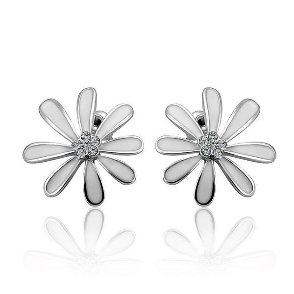 Vienna Jewelry 18K White Gold Floral Petal Studs with Ivory Covering Made with Swarovksi Elements