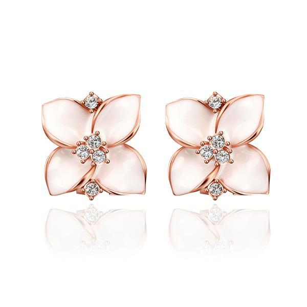 Vienna Jewelry 18K Rose Gold Classic Ivory Rose Petal Earrings Made with Swarovksi Elements
