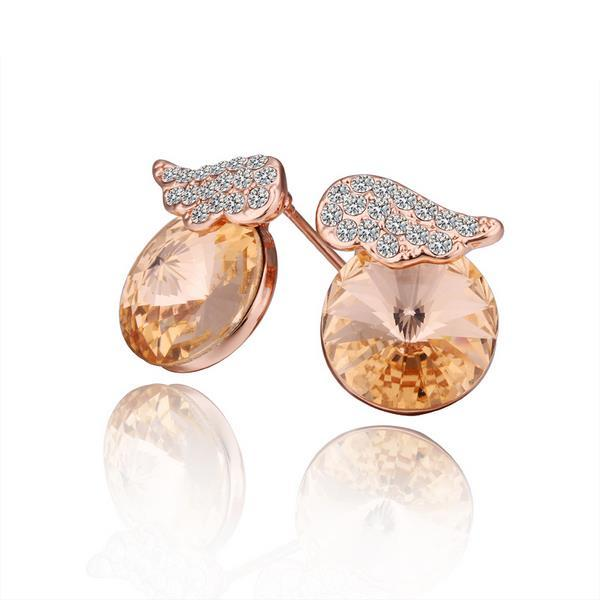 Vienna Jewelry 18K Rose Gold Mini Wings Earrings Made with Swarovksi Elements