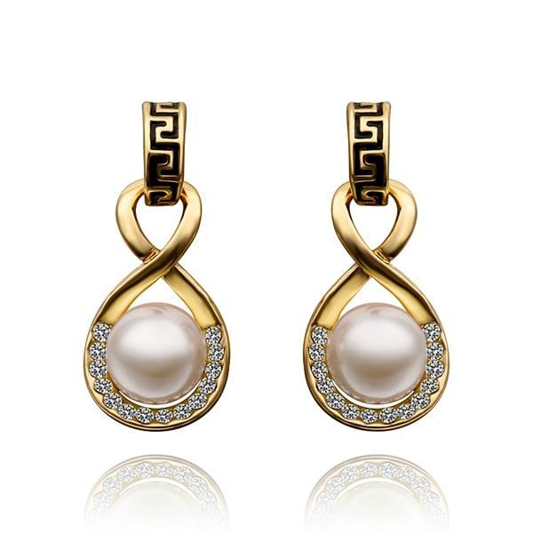 Vienna Jewelry 18K Gold Drop Down Earring with Pearl Center Made with Swarovksi Elements