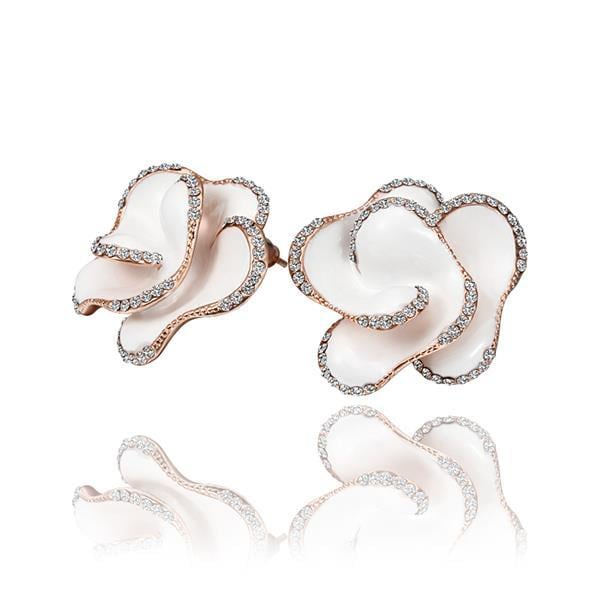 Vienna Jewelry 18K Rose Gold Ivory Colored Rose Petal Stud Earrings Made with Swarovksi Elements