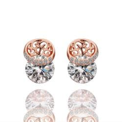 Vienna Jewelry 18K Rose Gold Laser Cut Circle Earrings Made with Swarovksi Elements - Thumbnail 0